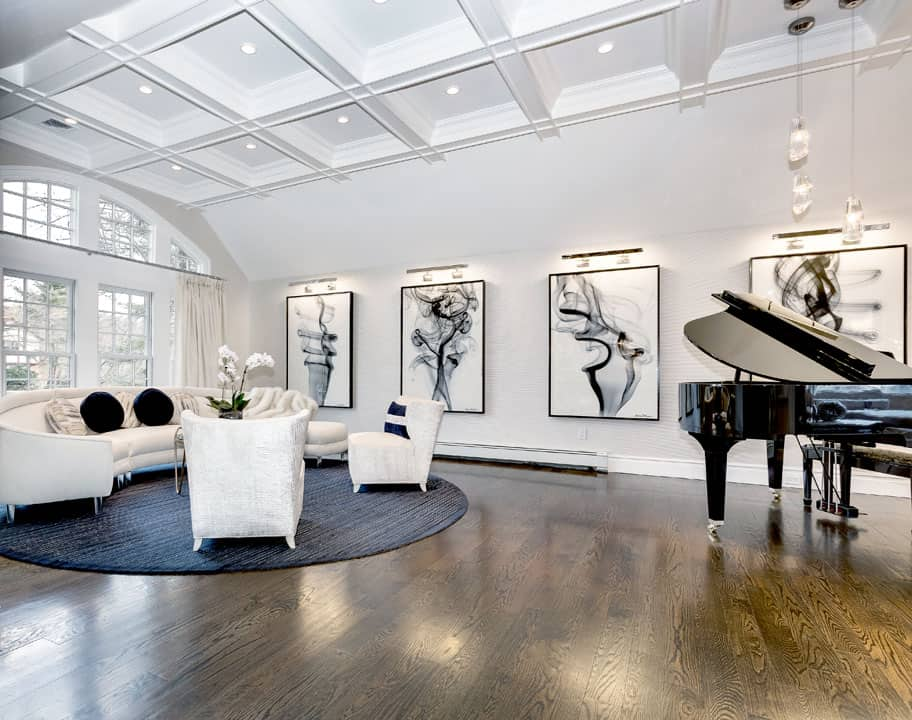 Piano room family room interior design by Just Design, Woodbury Long Island NY