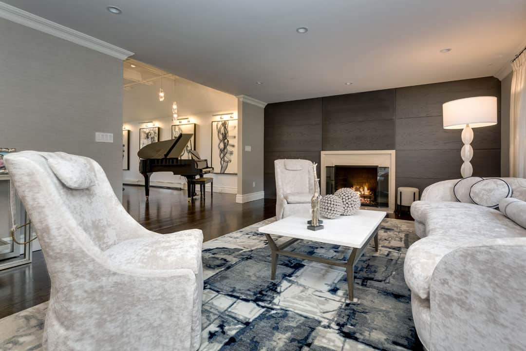 Elegant, modern, upscale living room by Interiors By Just Design, Woodbury LI NY