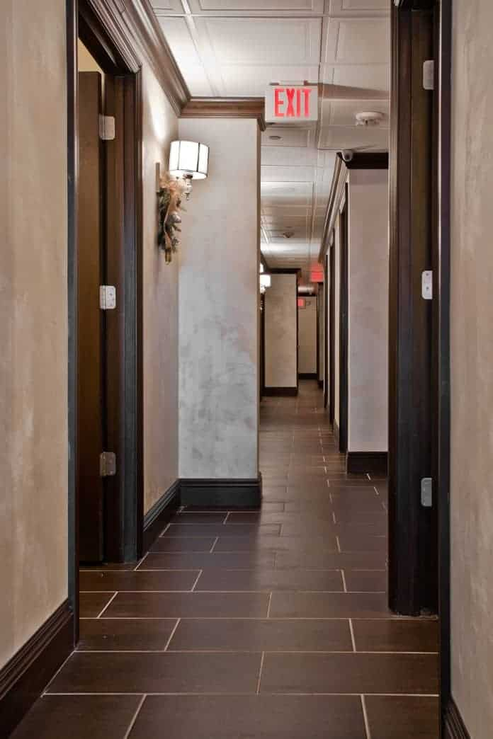 commerical interior design LI NY Spa hallway to treatment rooms