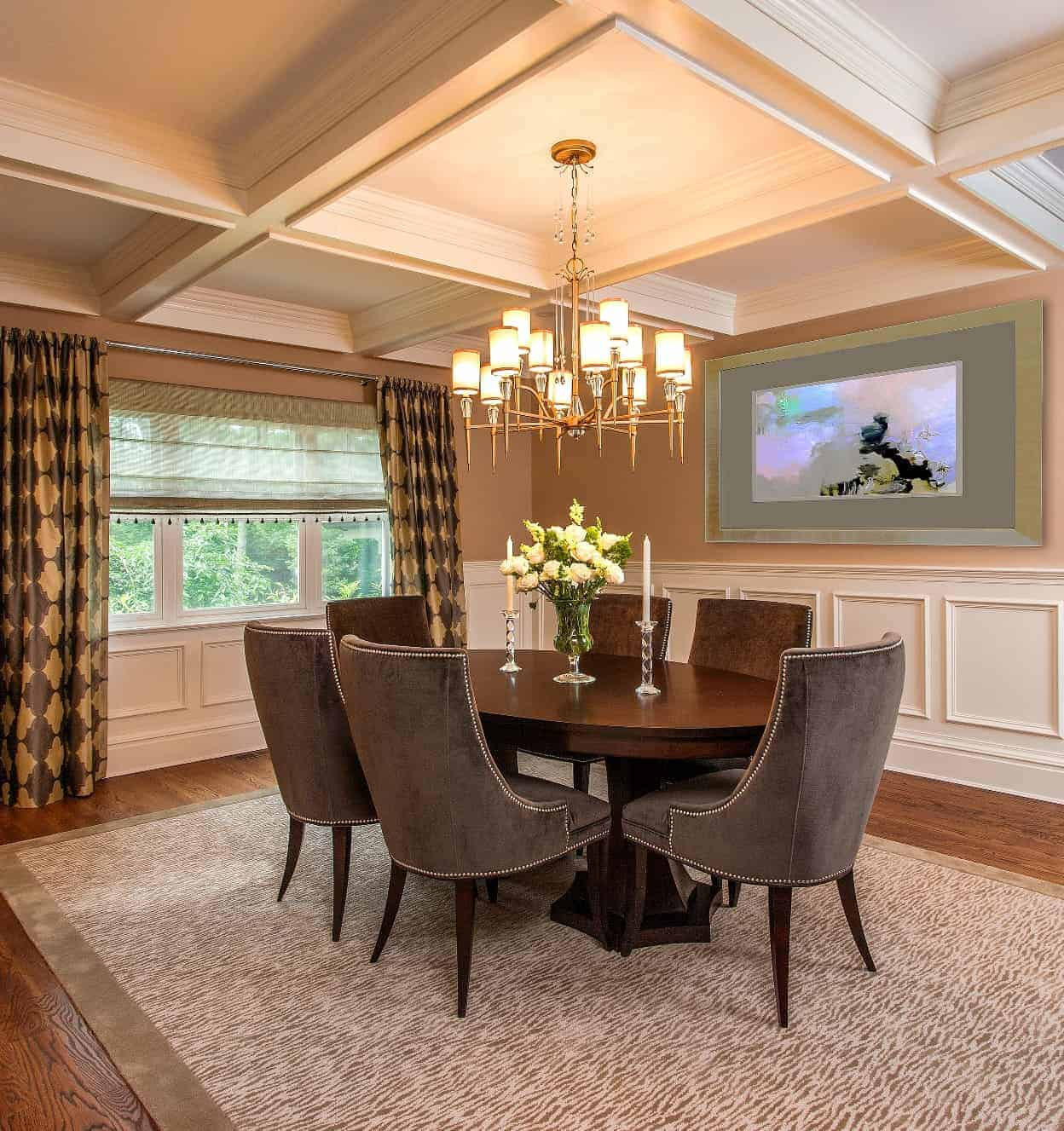 Classic dining room design with a refined, contemporary feel.