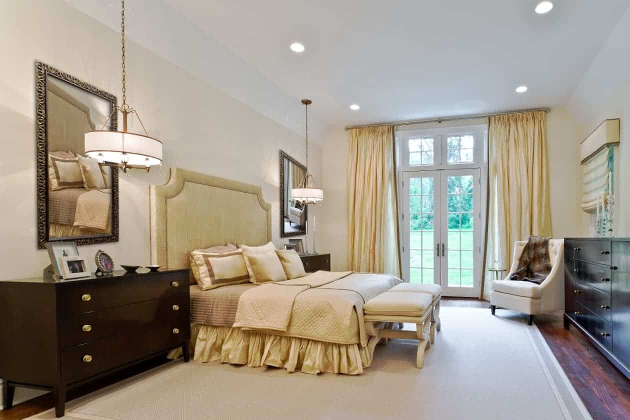 Elegant, sophisticated off-white master bedroom design Old Westbury LI NY