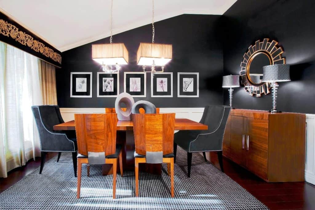 Dining room design Dix Hills Long Island with stunning black walls designed by Robyn B of Interiors By Just Design, Woodbury NY
