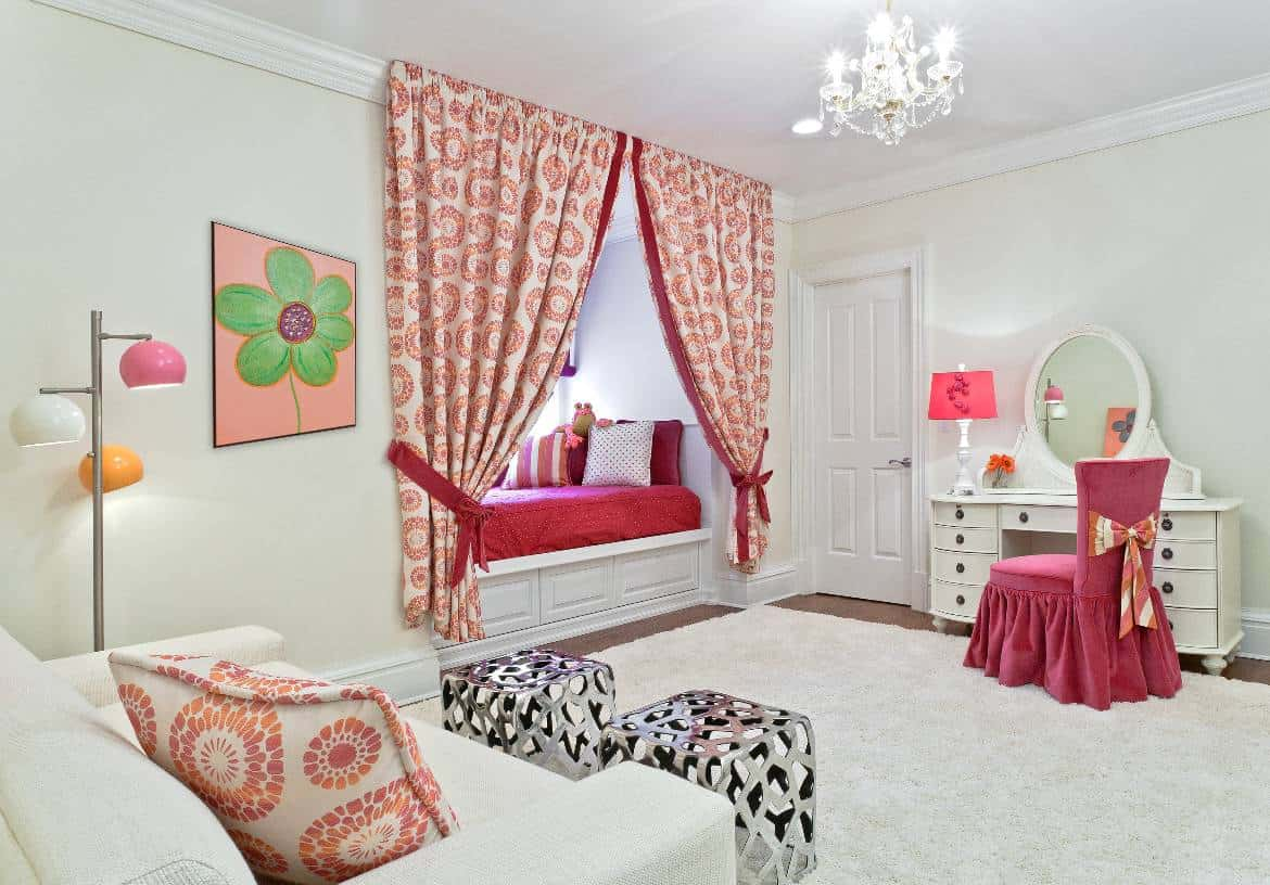 We maximized space while creating a unique focal point in the design of this girl's bedroom.