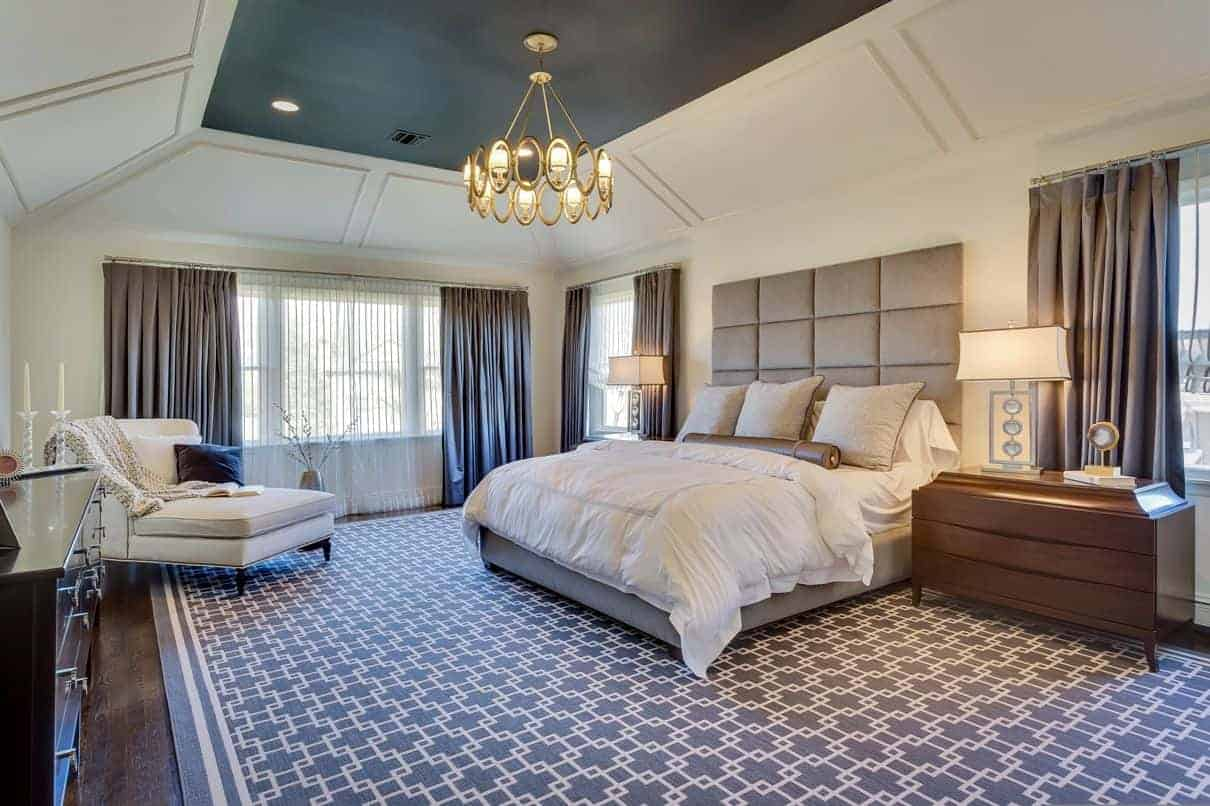 This master bedroom in Woodbury is a example of a modern transitional design.
