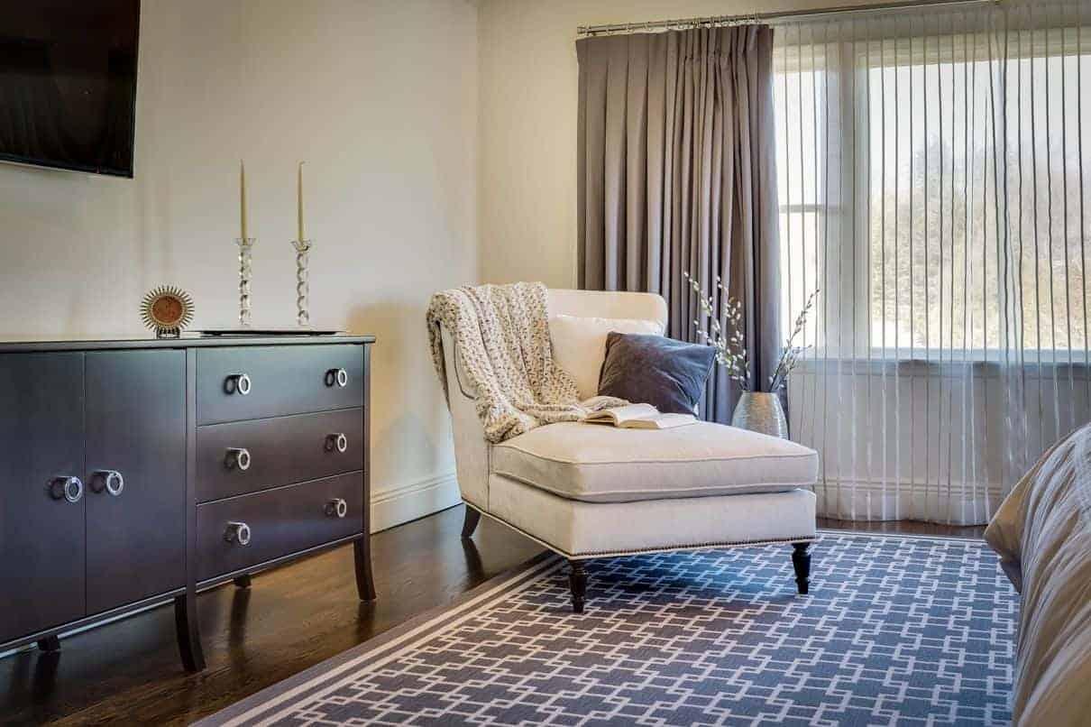 Master Bedroom interior design sitting area. Woodbury, Long Island NY