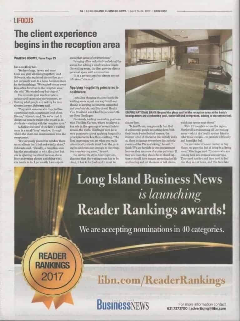 Long Island Business News interior design decorating waiting rooms