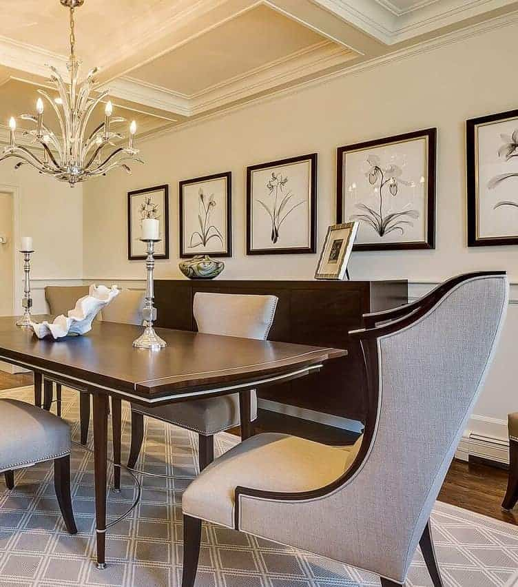 Classic dining table by Century Furniture, Christopher Guy chairs. Classic, romantic, understated elegance. Designed by Robyn B of Interiors By Just Design.