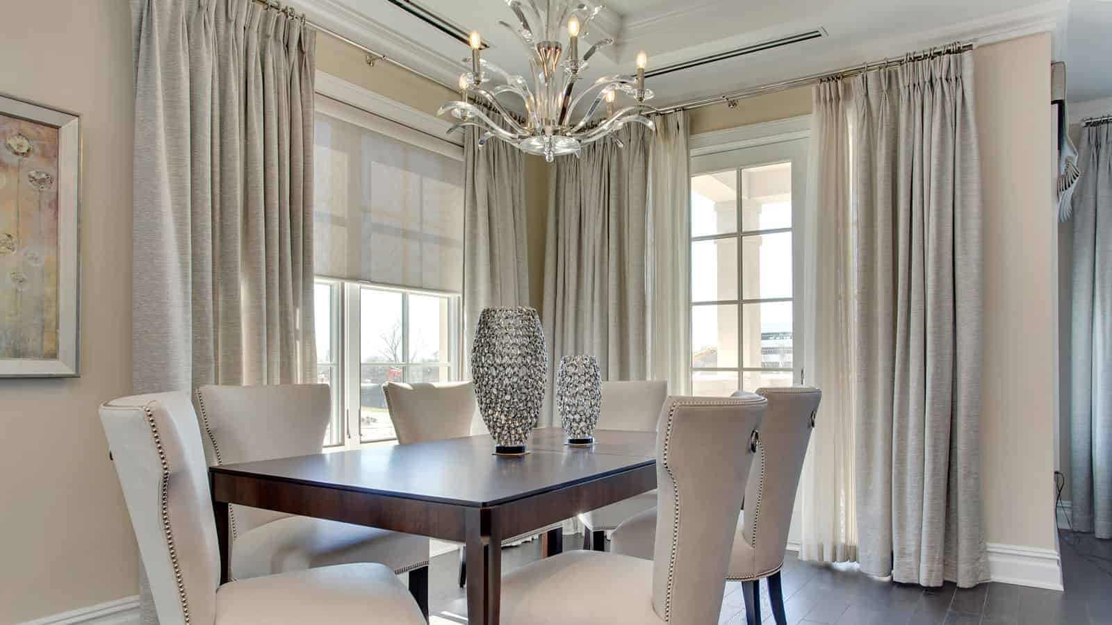 Luxurious dining room designed for a condominium in the Ritz-Carlton. North Hills.