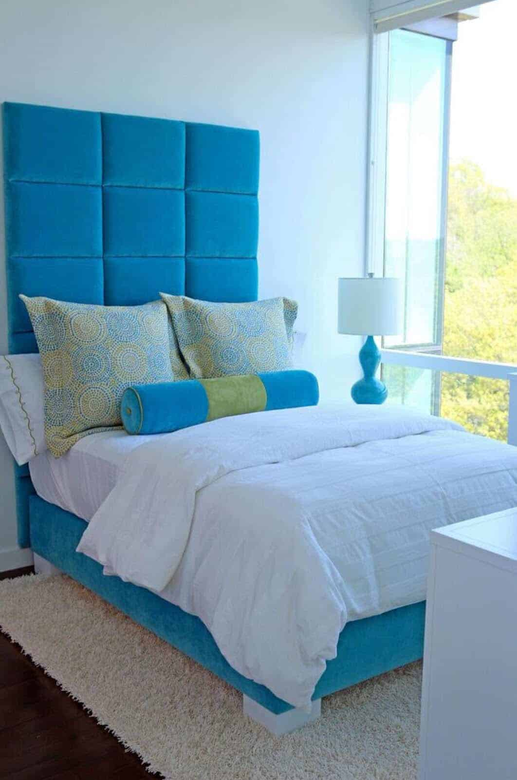 This bedroom is in a penthouse apartment in the Maestro, a luxury residence in Great Neck NY.
