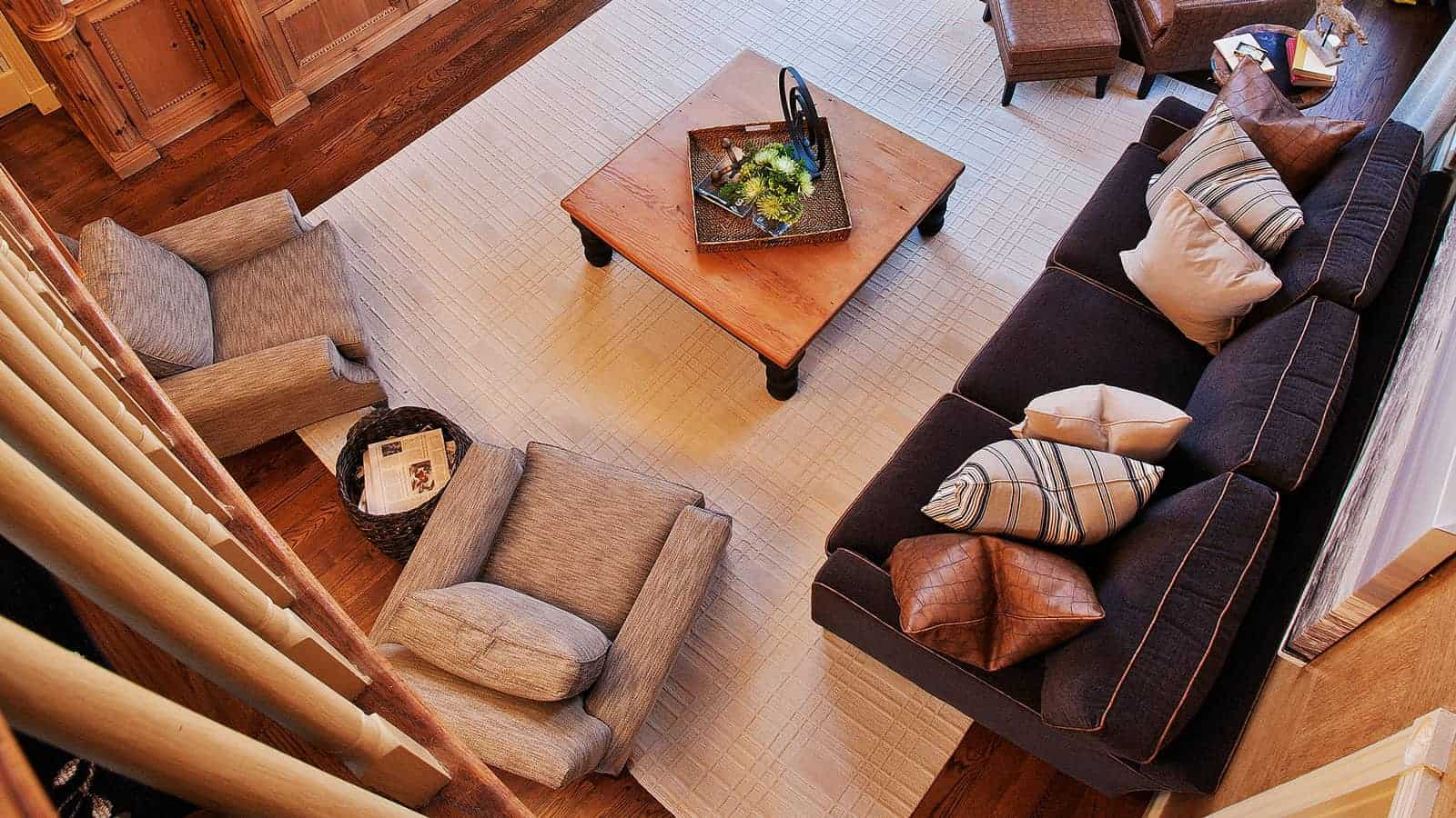 Bird's eye view of living room interior design in Westchester NY. Interior Designer Robyn B of Interiors By Just Design Inc., Woodbury NY