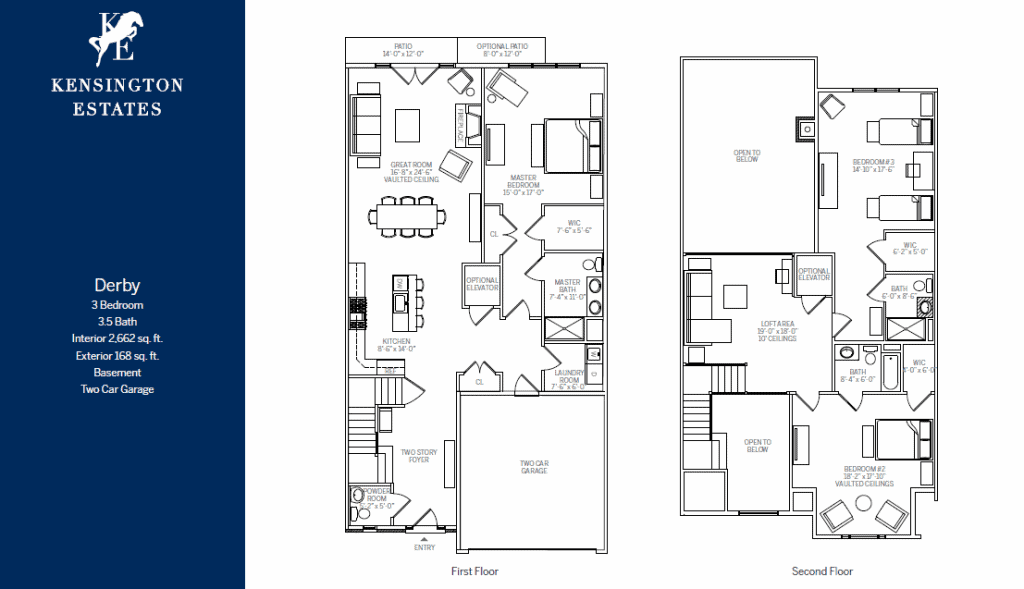 Kensington Estates Woodbury floor plans - DERBY